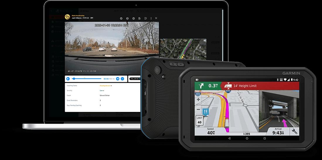 Field Warrior and FleetCam are shown on a Garmin fleet 790 navigation device